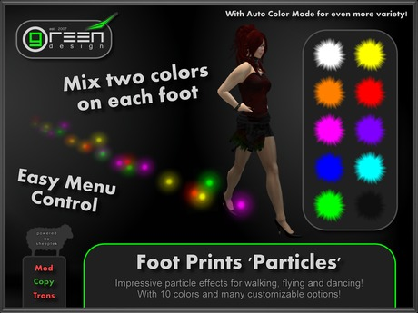 ●GD● Foot Prints 'Particles' [Multi Color, Walk/Fly/Dance] Customizable Paw Prints Walking Effect