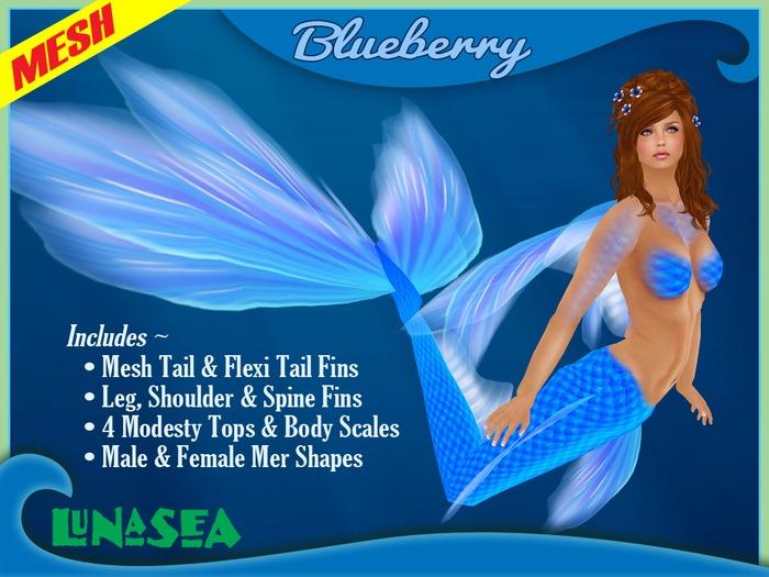=LunaSea= Mermaid & Merman Tail - Blueberry