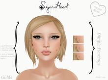 {Sugar Heart} Mesh Dimple Piercings & Tintable Dimples - Golds