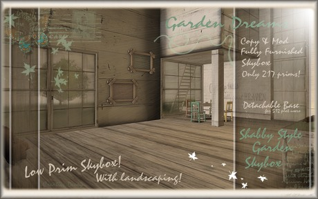 :D Sweet & Shabby Garden Dreams SKYBOX- FULLY Furnished, Just 217 prims!