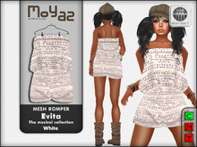 Evita Mesh Romper ~ The musical collection - White
