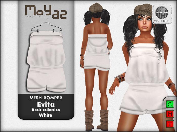 Evita Mesh Romper ~ Basic collection - White