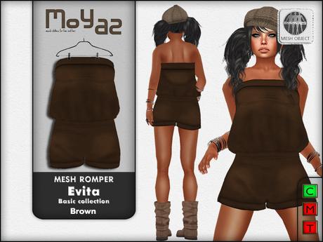 Evita Mesh Romper ~ Basic collection - Brown