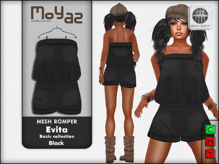 Evita Mesh Romper ~ Basic collection - Black