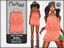 Evita Mesh Romper ~ Basic collection - Salmon pink