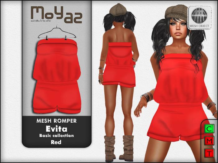 Evita Mesh Romper ~ Basic collection - Red
