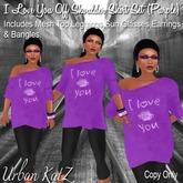 I LOVE U/Off Shoulder Sweater(purple)
