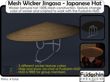 Mesh Wicker Jingasa V1.0 - Japanese Hat for Samurai and Ninja!