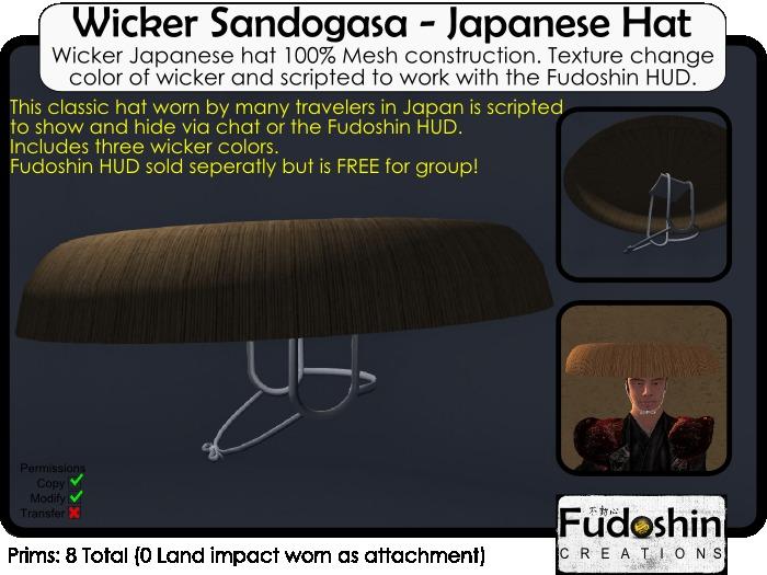 Sandogasa V1.0  - Japanese Travelers Wicker Hat
