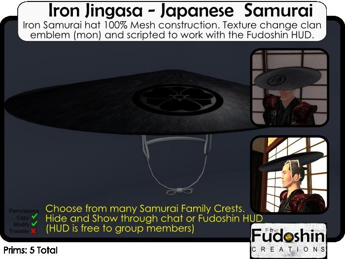 Mesh Iron Jingasa V1.0 - Metal Samurai Hat with Changable Clan/Family Crest