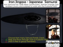 Mesh Iron Jingasa V1.0 - Metal Samurai Hat with Changable Clan/Family Crest