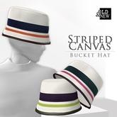 (O&N) Striped Canvas Bucket Hat