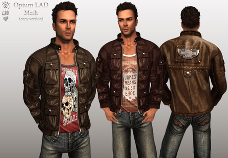 Opium Mesh Male Leather Jacket Browns  (copy/boxed/wear me)