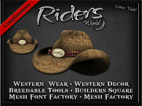Riders Straw Cowboy Hat - Complimentary - Includes Resize Hud