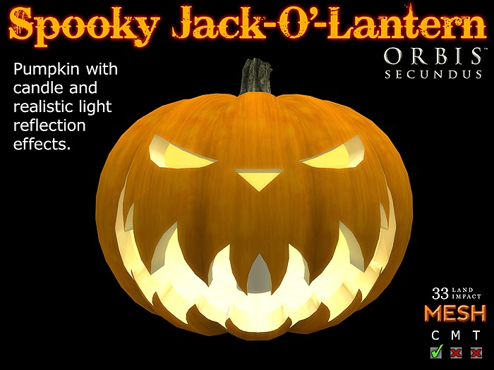 Spooky Halloween Pumpkin Jack-O'-Lantern - Mesh