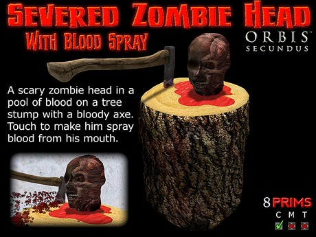 Halloween Severed Zombie Head With Blood Spray