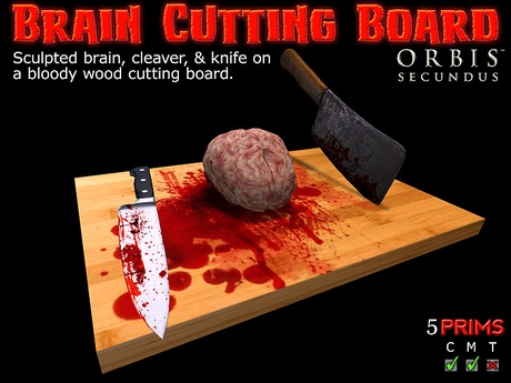 Brain Cutting Board With Knife & Cleaver