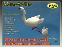 Ps White Swan Animated Free Swimming Sculpty Bird Animal