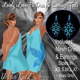 Lovely Lose Fit Dress& Earrings (teal)