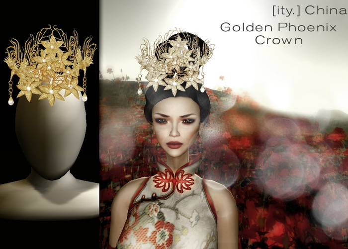 [ity.] China - Golden Phoenix Crown (3 colors of pearls)