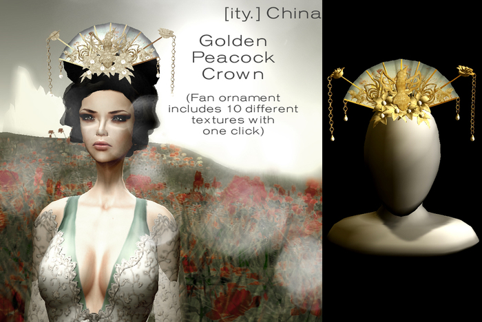 [ity.] China - Golden Peacock Crown (3 colors of Pearls)