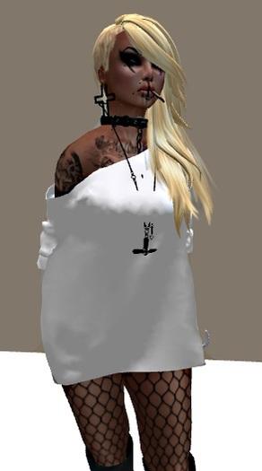 Mesh Tshirt Dress White PROMO
