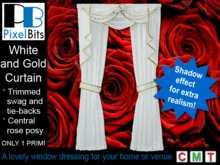 White and Gold Curtain - 1 prim