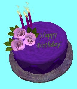 Fantastic Second Life Marketplace Happy Birthday Purple Cake With Pink Roses Funny Birthday Cards Online Elaedamsfinfo
