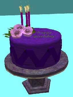 Enjoyable Second Life Marketplace Happy Birthday Purple Cake With Pink Roses Personalised Birthday Cards Rectzonderlifede
