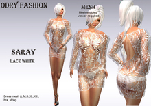 *OF *-*SARAY*Mesh LACE WHITE DRESS