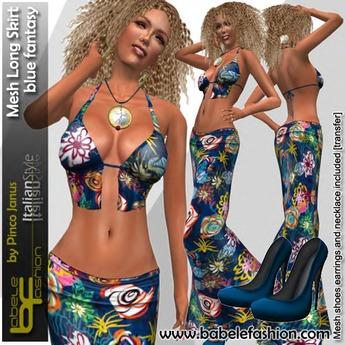 Babele Fashion Mesh Long Skirt Blue Fantasy