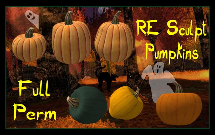 Second Life Marketplace Re Sculpted Pumpkins Stems Pack Full Perm Maps Textures Halloween Squash