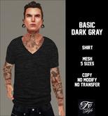 ::Fe Style:: Basic/Dark Gray/V Neck Shirt/Mesh 5 Sizes