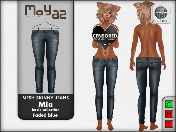 Mia Mesh Skinny Jeans - faded blue