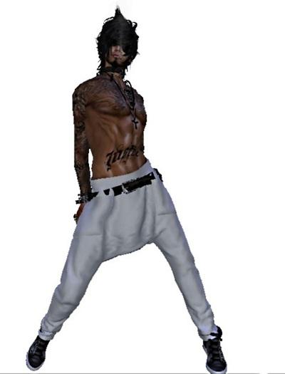 Mesh Mens Low Crutch Jeans White