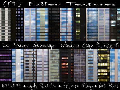 Second Life Marketplace Ft Fallen Textures Full Perm Skyscraper Windows 20 Textures Day Night