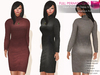 %50SUMMERSALE FULL PERM CLASSIC RIGGED MESH Turtle Neck Long Sleeve Bodycon Mini Knitted Winter Dress - 7 TEXTURES