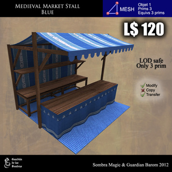 LOW PRIM - Medieval Market Stall blue (G&S)