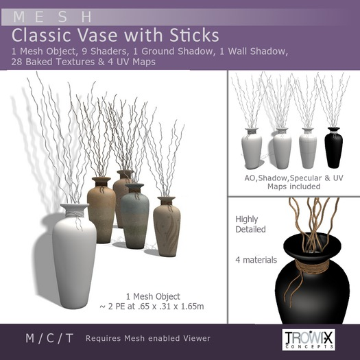 Trowix - Classic Vase with Sticks Mesh Pack