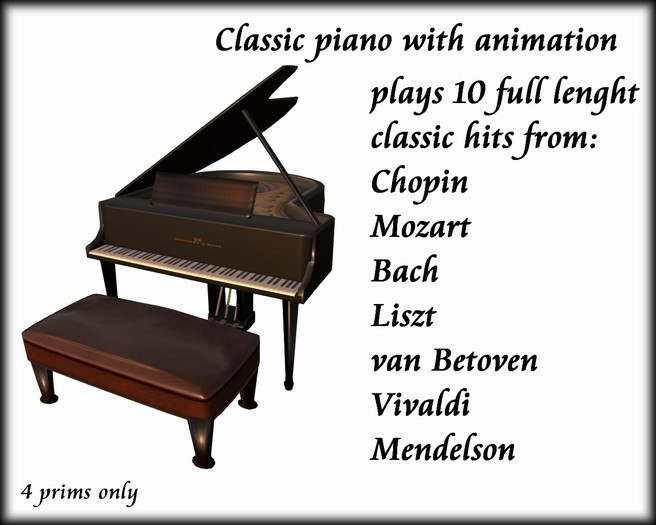 Classic music Piano  4 prims only plays 10 best classic hits