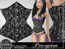 *Perception* Underbust Corset -- Black and Silver Damask