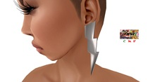 [7891.] - Bolt Earrings - Silver (W\Reszie)