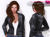 FULL PERM RIGGED MESH Women's Female Ladies Open Front Leather Sexy Biker Jacket - 3 TEXTURE Black Brown Navy