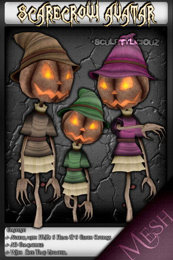 NEW [Mesh] Crowly the ScareCrow Avatar