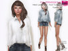 FULL PERM CLASSIC RIGGED MESH Women's V-Neck Long Rolled Sleeve French Tuck Loose Shirt Top - 5 TEXTURES