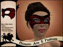 Rose & Web Mask (Red & Black)