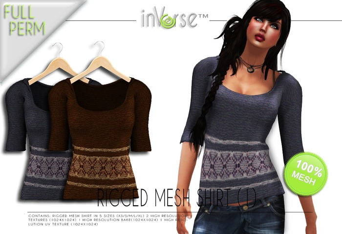 inVerse™ - Full perm rigged mesh shirt(1)