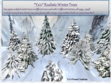 Realistic 1 Prim Winter Trees - Complete Pack - Copy+Mod
