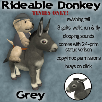 Rideable Donkey for Tinies - Grey