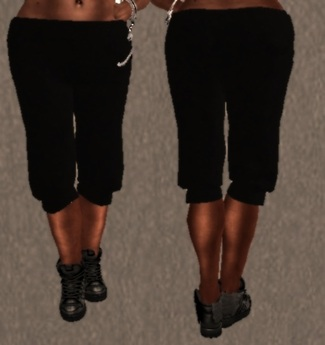 Mesh Cropped Sweat Pants Black